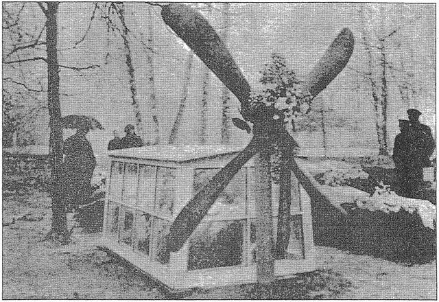 Могила лётчика Б. Д. Михайлова с крестом из пропеллера его самолёта.