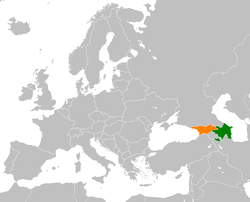 Map indicating locations of Azerbaijan and Georgia
