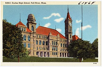 B.M.C. Durfee High School - Old postcard of historic Durfee school building