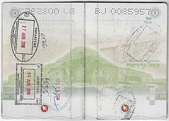 Bangladeshi passport - The visa page of Bangladesh machine-readable passport.