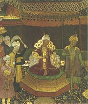 Babur on his throne