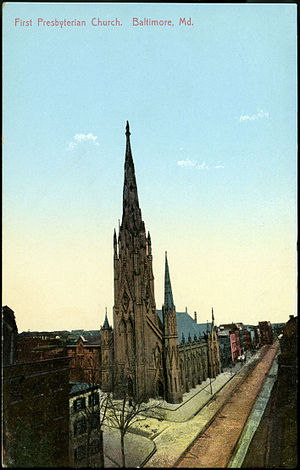 First Presbyterian Church and Manse (Baltimore, Maryland) - First Presbyterian church in Baltimore, Maryland from a  pre-1923 postcard