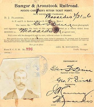 Bangor and Aroostook Railroad - Potatoes were important enough to the railroad that men were hired to tend to them during shipment. This worker's pass entitled him to a trip back to his hometown.