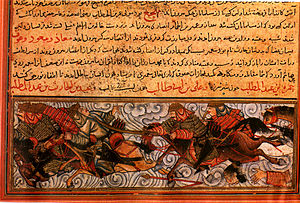 Jami' al-tawarikh - The Battle of Badr, from Topkapi MS H 1653, 1314