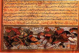 Jami' al-tawarikh - The Battle of Badr, from Topkapi MS H 1653, 1314