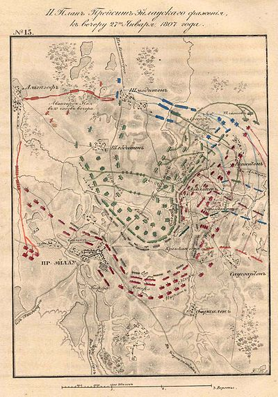 Battle of Eylau after Davout's attack late in the day. French shown in red, Russians in green, Prussians in blue. Battle of Preussisch Eylau Map3.jpg
