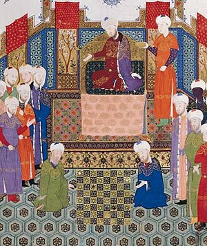 Shatranj - Two shatranj players in a detail from a Persian miniature painting of Bayasanghori Shahname made in 1430