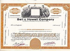Bell & Howell - Image: Bell & Howell Stock Certificate (Specimen)
