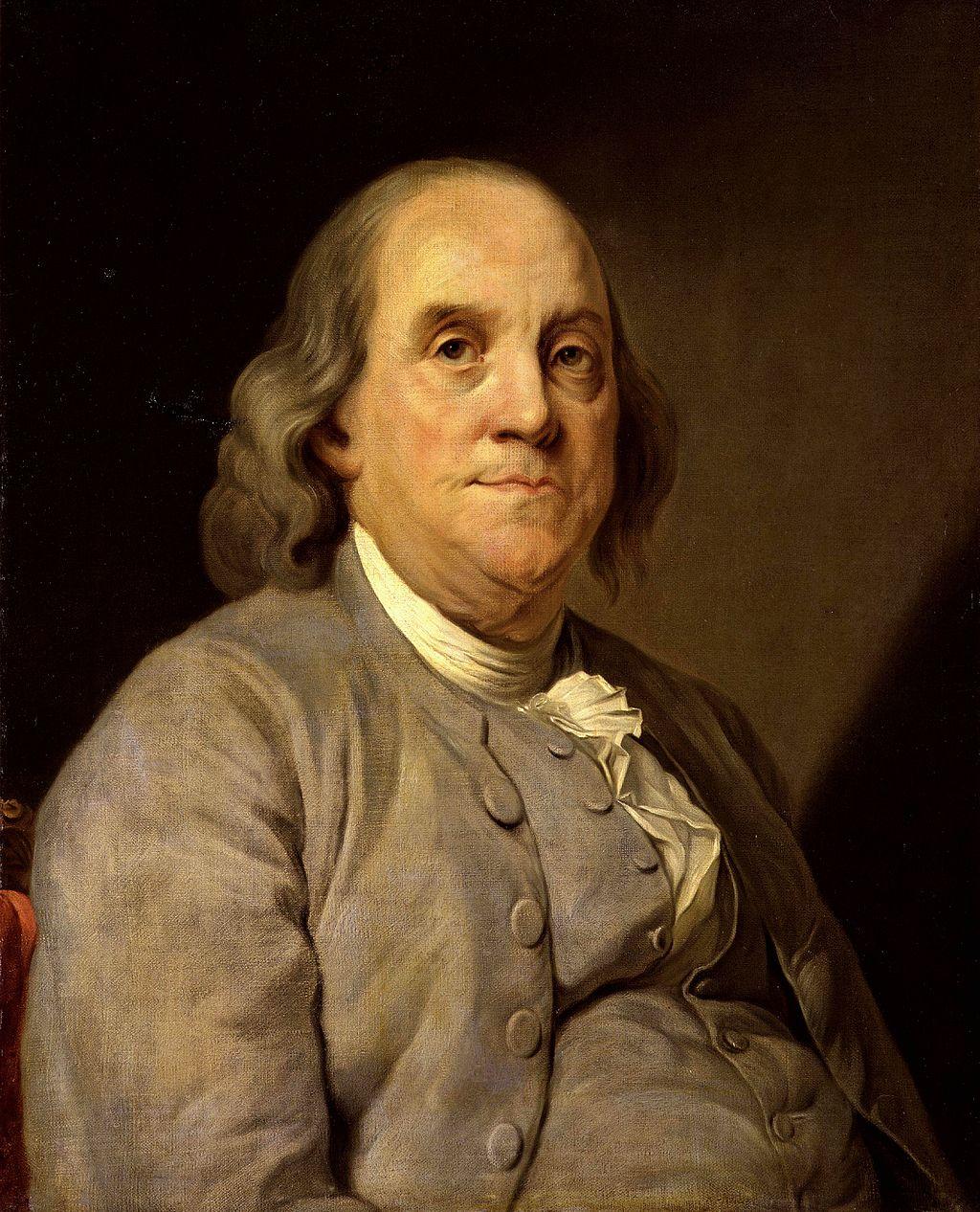 Franklin omstreeks 1785. Portret door Joseph Duplessis