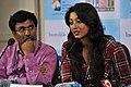Bengali Film Actress Paoli Dam interacting with the Press on Indian Panorama Films at the 44th India International Film Festival of India (IFFI-2013), in Panaji, Goa. Kannada Film Director P. Sheshadri is also seen.jpg