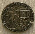 Benvenuto cellini, medaglia argentea di clemente VII (v) la pace che accende una pira di armi.JPG
