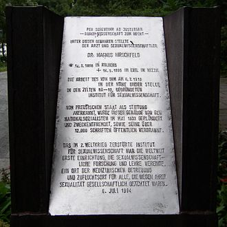 Magnus Hirschfeld - Memorial plaque in Berlin-Tiergarten
