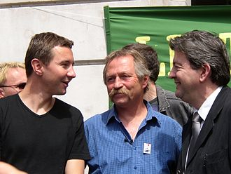 "Jean-Luc Mélenchon - Jean-Luc Mélenchon (right) with Olivier Besancenot (left) and José Bové (centre) at a meeting to rally support for the ""No"" vote in the European Constitution referendum of 2005."