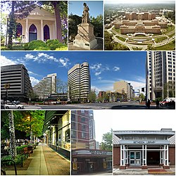 From top: Bethesda Meeting House, Bethesda's Madonna of the Trail statue, the National Institutes of Health, downtown Bethesda near the Bethesda Metro station, Bethesda Avenue at night, Bethesda Theatre, and Bethesda Library.