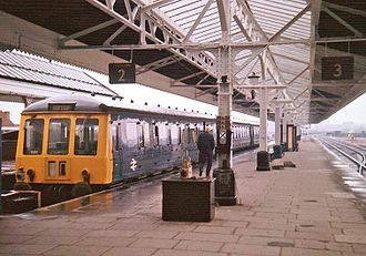 Birmingham Moor Street railway station - A local train waits at the terminus platforms in 1975.