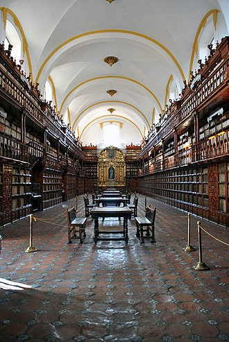 Puebla City - The Biblioteca Palafoxiana is the first public library in the Americas. Founded by Bishop Juan de Palafox y Mendoza in 1646.