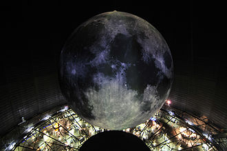 """Gasometer Oberhausen - 25m model of the Moon in """"Out of this World"""""""
