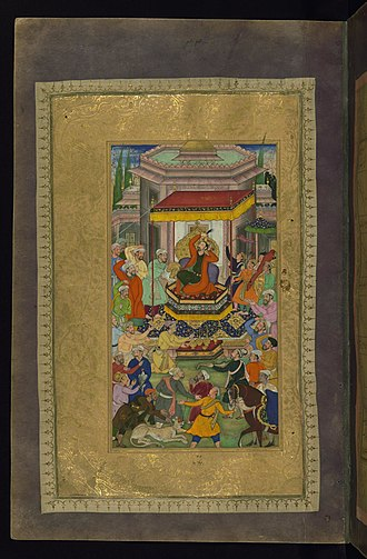 Khamsa of Nizami (British Library, Or. 12208) - Image: Bim Gujarati Alexander the Great Enthroned at Persepolis Walters W61334A Full Page