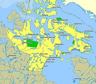 Dewey Soper Migratory Bird Sanctuary - Nunavut bird sanctuaries in green