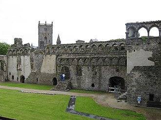 St Davids Bishops Palace - Courtyard and East Range, also showing view to Cathedral behind