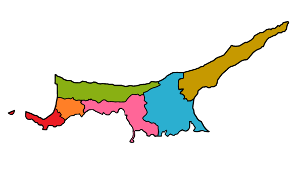Blank district map of Northern Cyprus