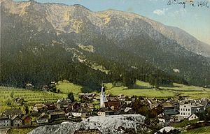 Bad Bleiberg - Bad Bleiberg with Dobratsch massif, 1908 postcard