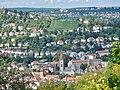 Blick über Heslach, z. B. Ev. Matthäuskirche bis zur Hasenbergsteige - panoramio.jpg