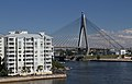 Block of flats seen looking to ANZAC Bridge from Pirrama Park, Sydney, Australia (35265184470).jpg