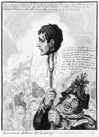 """Britons, Strike Home! - An unusually vicious caricature print by James Gillray dated 1803 and entitled """"BUONAPARTE, 48 Hours after Landing!"""". Napoleon's severed head is held aloft on a pitchfork by John Bull whose hat bears the legend """"BRITONS STRIKE HOME"""", which was a popular slogan during the Napoleonic Wars."""