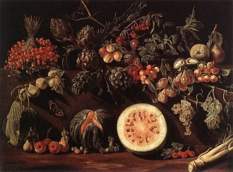 Pietro Paolo Bonzi - Fruit, Vegetables and a Butterfly, 1620