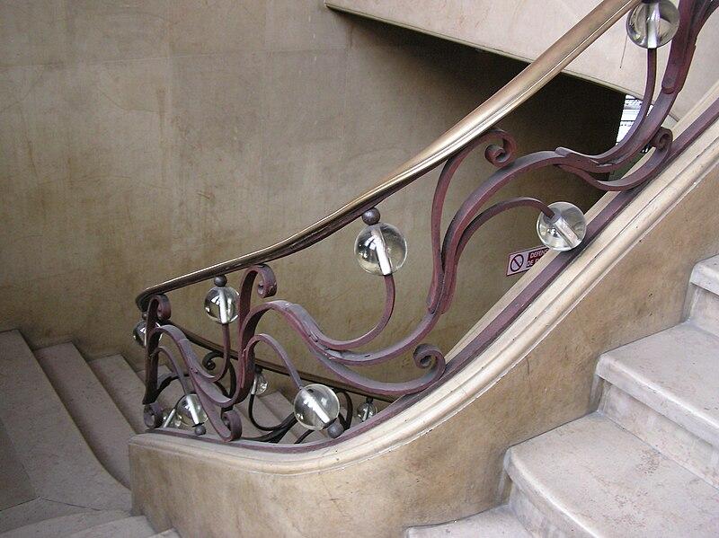 file bordeaux bourse du travail d tail rampe cuivre et verre jpg wikimedia commons. Black Bedroom Furniture Sets. Home Design Ideas