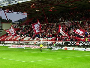 Brann Stadion - Brann supporters cheer before the start of a UEFA Cup match against Deportivo