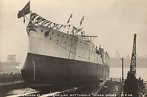 Ceremonial ship launching - 1908 launch of the Brazilian battleship ''Minas Geraes''