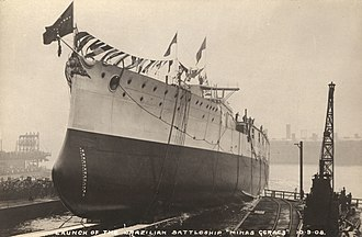 Ceremonial ship launching - 1908 launch of the Brazilian battleship Minas Geraes
