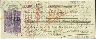 Negotiable instrument - An 1870 Bill of Exchange payable in London with British Foreign Bill revenue stamps attached.