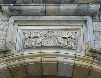 British Linen Bank - The name of the bank above the entrance to its branch in Falkland, Fife
