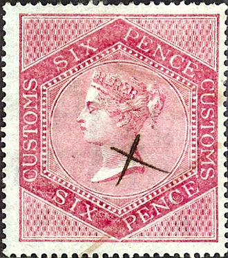 HM Customs and Excise - A British Victorian six pence customs revenue stamp.