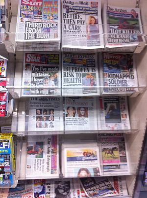 Tabloid (newspaper format) - British tabloids (top two rows), July 5, 2011