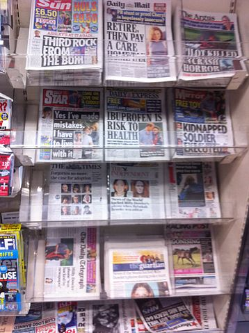 Photograph of British tabloids - July 5 2011, via Wikimedia Commons