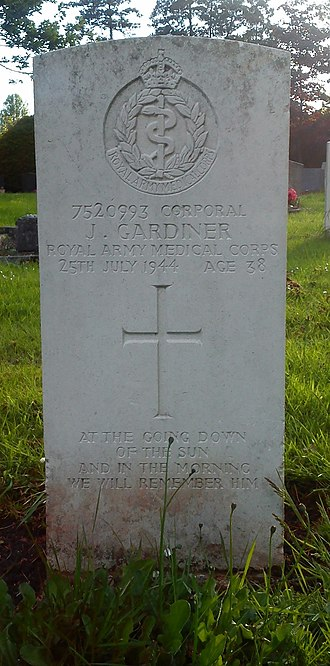 "For the Fallen - CWGC headstone with adapted excerpt from ""For The Fallen"""