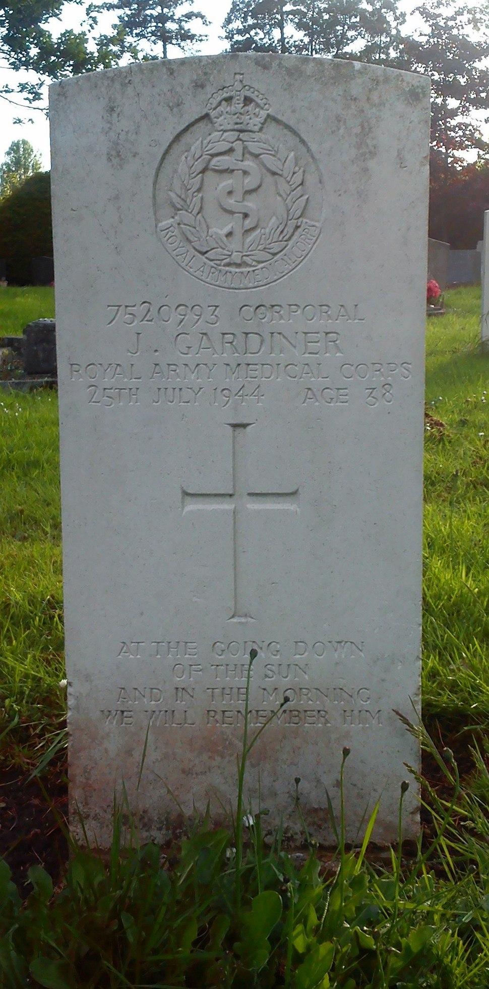 Bromsgrove cemetery CWGC Gardiner