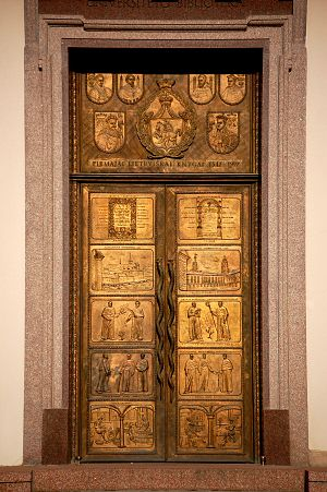 Vilnius University - A bronze door at the Vilnius University Library commemorates the first Lithuanian book.