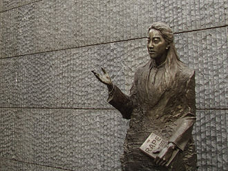 Iris Chang - A bronze statue of Iris Chang at the Nanjing Massacre Memorial Hall in Nanjing