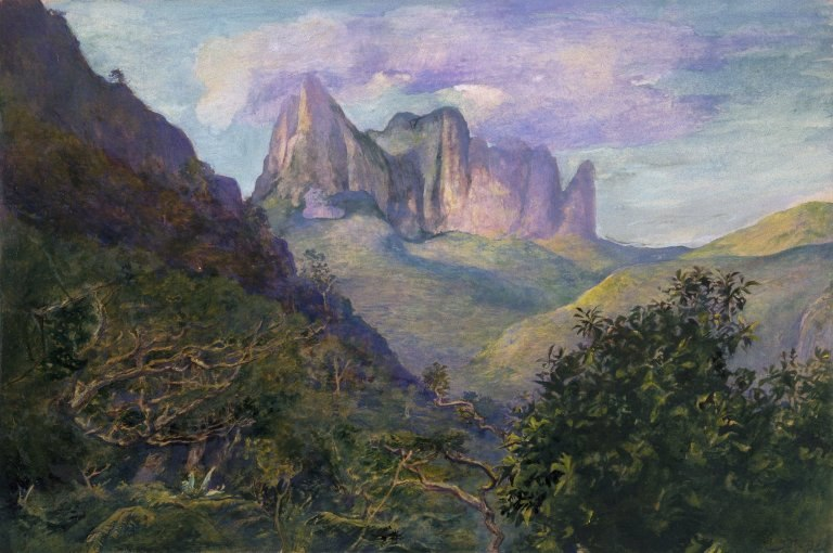 Brooklyn Museum - Diadem Mountain at Sunset, Tahiti - John La Farge - overall
