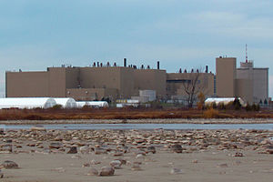 Bruce Nuclear Generating Station - Bruce A, from across Baie Du Dor