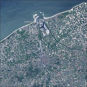 Port of Zeebrugge - Satellite image of Bruges and the Port