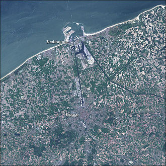 Port of Zeebrugge - Satellite image of Bruges and the Port