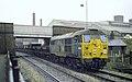 Brush type-2 no. 5526 shunting ballast empties into the ARC sidings, Loughborough Midland, Nigel Tout, 4.1.74.jpg