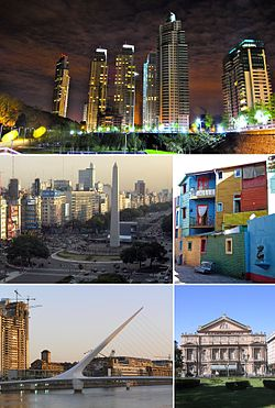 From top, left to right: skyscrapers in Puerto Madero, the Palace of the Congress and the plaza it faces, the Teatro Colón, the Caminito alley in La Boca, the Casa Rosada and the Obelisco on 9 de Julio Avenue.