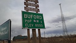 Town sign for Buford as of April 2020